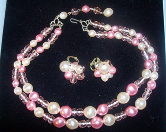 Vintage 1950s Signed Richelieu Demi Parure Pink Pearl & Glass Bead Double Strand Necklace and Earrings