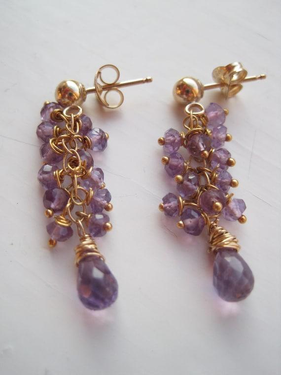 Amethyst and Gold Cluster Earrings, Swede Rocks Collection, Purple Earrings, Gemstone Earrings