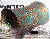 Wide cuff bracelet women's jewelry hand painted jewelry Copper bracelet brass jewelry copper shimmer and blue green