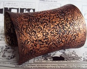 Wide cuff bracelet women's jewelry hand painted jewelry Copper bracelet copper and black jewelry