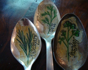 Vintage Spoon Herb Markers Custom Set of 3