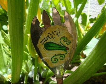 Vintage Spoon Zucchini Plant Marker