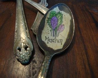 Vintage Spoon Mesclun Plant Marker