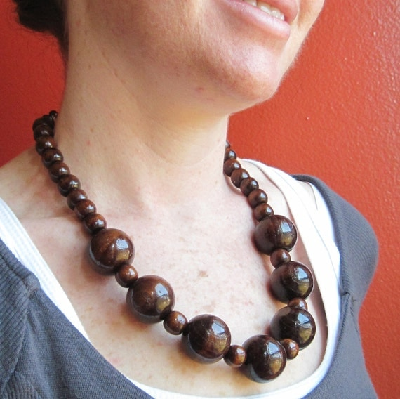 large wood necklace chunky wooden by everysparemoment