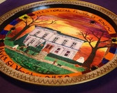 Round Halloween trick or treat display tray/plate