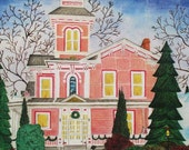 Christmas holiday cards historical founders row homes Wooster Ohio with snowflake confetti