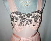 RESERVED FOR CINDY Pretty in Pink Slip Nightie Black Lace Size 34