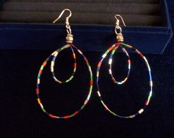 Colored Bugle Bead Double Hoop  Earrings