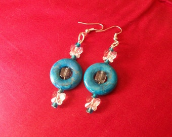 Celestial Crystal Butterfly and Blue Turquoise Dangle Earrings
