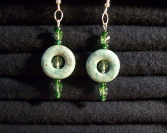 Celestial Crystal in Peridot with Turquoise Breathmint Cherrio Donut Dangle Earrings