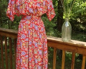 SALE vintage 80s FLORAL lipstick red dress