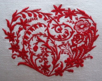 Vintage French Metis Linen Embroidered Heart Cushion Cover Different Colours Available