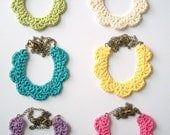 Free Shipping in US choose your color - crochet lace bib necklace. crocheted cotton thread on brass chain.