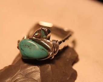 Visionary Turquoise Heavily Embossed Square-Banded Ring Sculpted in Sterling Silver Ring SIZE 8