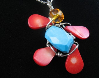 Happy Dancing Bear Pendant Red Coral arms and legs with big Turquoise Belly wrapped in Sterling Silver and Yellow Art Glass