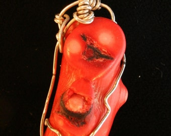 Picasso Face Pendant Red Coral Depicting a Man with a Goattee