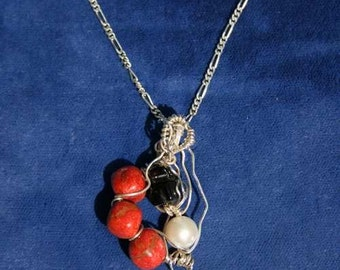 Red Coral  Freshwater Pearl  Black Onyx Pendant Sculpted in Sterling Silver