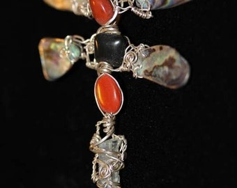 Dragonfly Destiny w Aquamarine Crystal  Abalone  Red Jasper and Black Onyx Pendant Sculpted in Sterling Silver