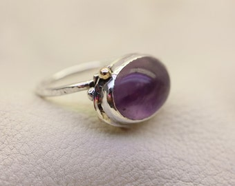 Uniquely Lg Purple Fluorite Embossed Ring Set in Fine Silver w Gold Ball Accents SIZE 9.5