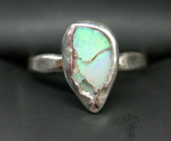 Broken Dreams Finger- Sized Sterling Silver Ring with a Precious Opal set in Fine Silver  SIZE 6 and 1/2