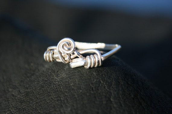 Visionary Sterling Square Banded Clean Swirl Ring Size 10.5 - 11