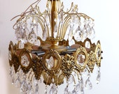 1950s Chandelier- Brass and Crystal Prism Chandelier- Shabby Chic