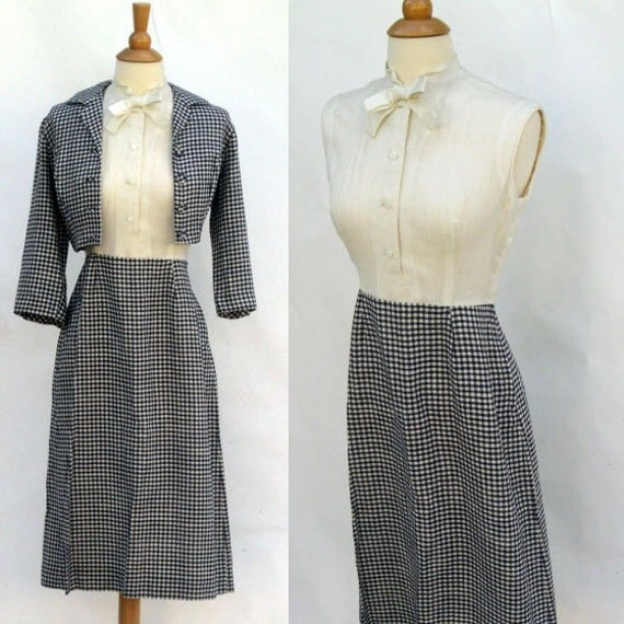 1950's Vintage Dress- Gay Gibson Checkered sleeveless Linen Shelf-Bust Hourglass Dress Suit with Bolero Jacket