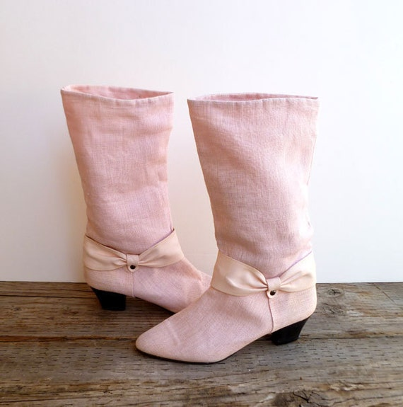 vintage Pink boots, go-go, cowboy- linen and leather