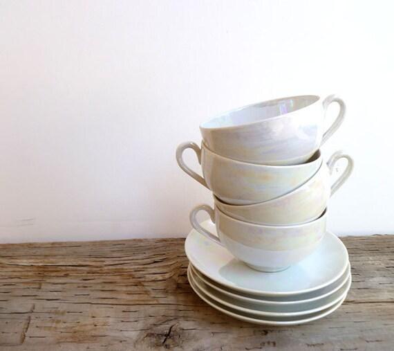 Vintage Tea Cup Set of 4- Lusterware White Porcelain