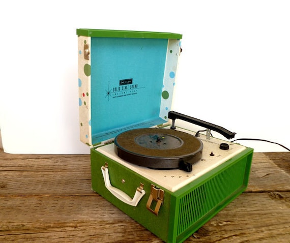 1960s Portable Record Player Turn Table- Retro Polka Dot- Blue and Green
