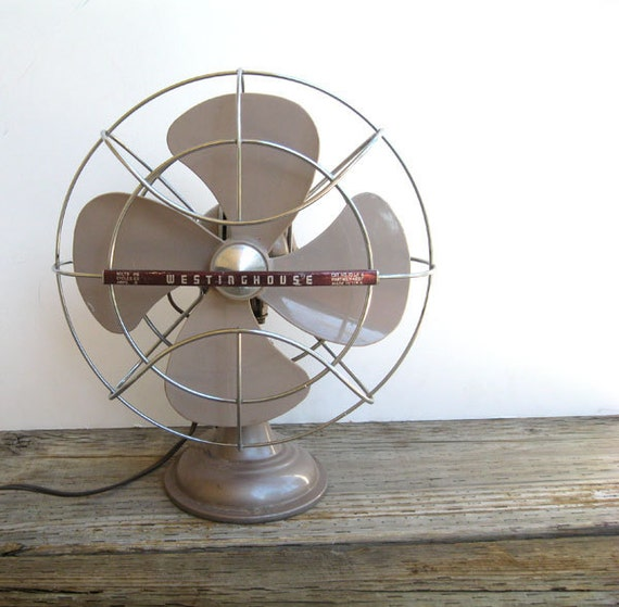 Taupe Industrial Fan- Westinghouse- 1950s
