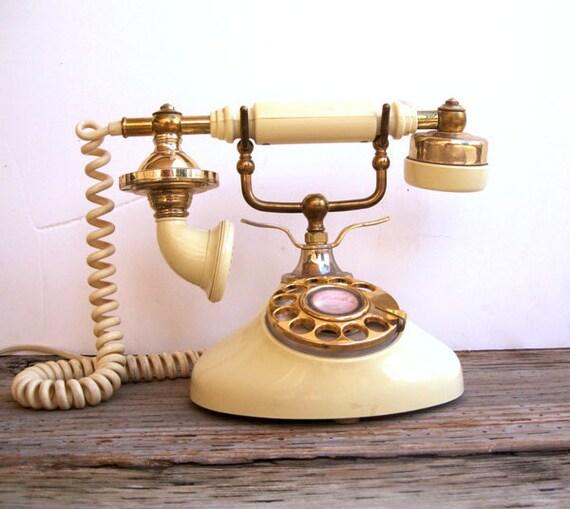 Rotary Telephone- Princess Phone- Cream
