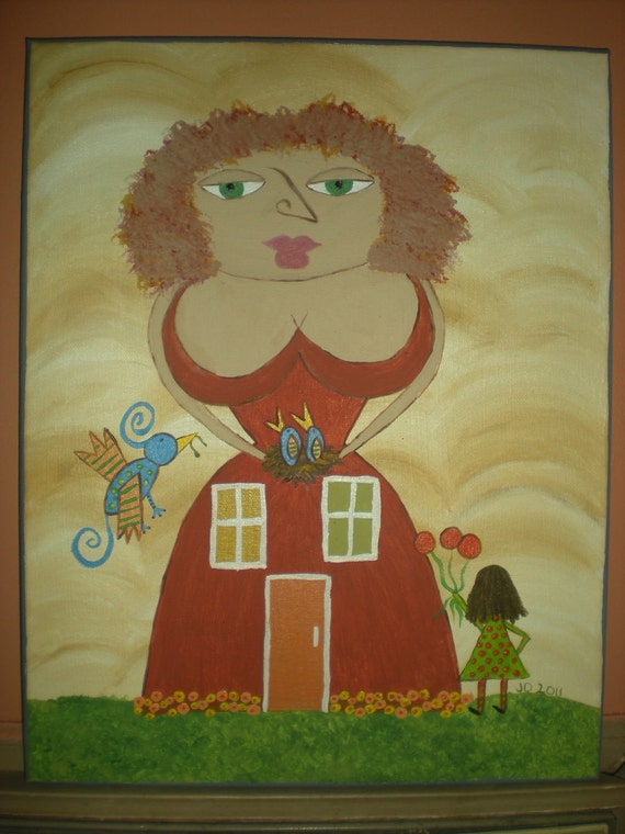 Mothers make it a home - folk art painting
