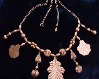 Vintage Copper Leaf Necklace