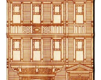 Brownstone House Engraved Ornament (F.J. Berlenbach House, Brooklyn, NY)