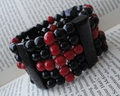 Black with Red Crosses Petite Goth Wrist Band Bracelet