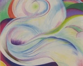 """Original Abstract Drawing - """"Wind"""" - white movement with coral pink purple and hints of orange yellow and green- 9x11.75"""
