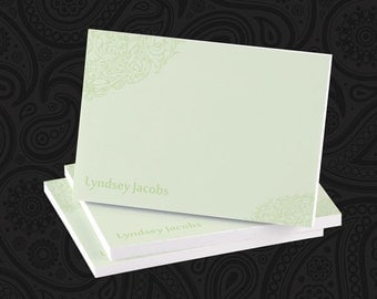 4 x 3 Personalized Minty Scrollwork Post-it Notes - Great Gift - BEST SELLER