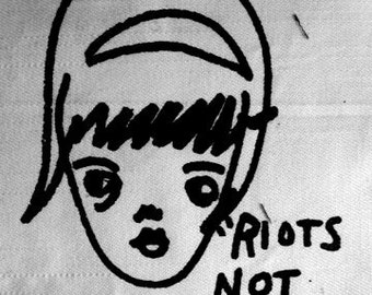 Riots Not Diets Feminist Punk DIY Patch Screen Printed