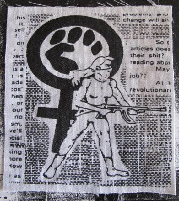 Radical feminist activist patch punk DIY Revolution Anarchist