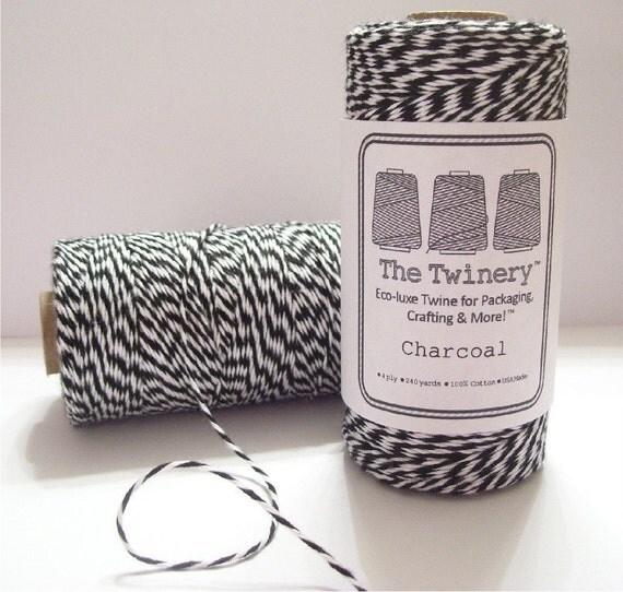 Charcoal - Black and White Baker's Twine - 240 yard spool