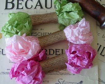 Shabby Wrinkled Pink Carnation ribbon bundle, 15 yards