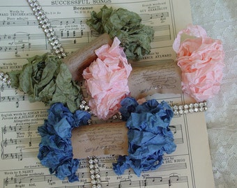 Shabby Wrinkled VICTORIAN BOUQUET ribbon bundle, 15 yards