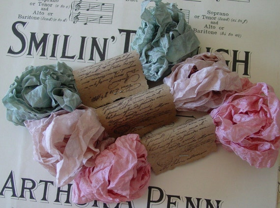 Shabby Wrinkled Past Beauties seam binding ribbon bundle, 15 yards