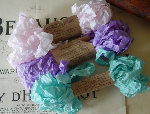 Shabby Wrinkled Waterlily ribbon bundle, 15 yards