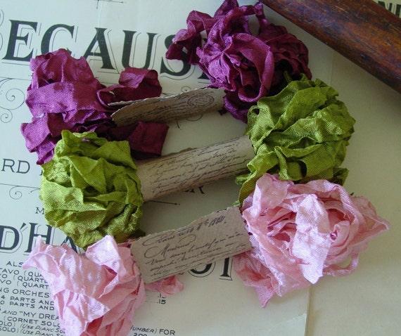 Shabby Wrinkled Rose Garden ribbon bundle, 15 yards