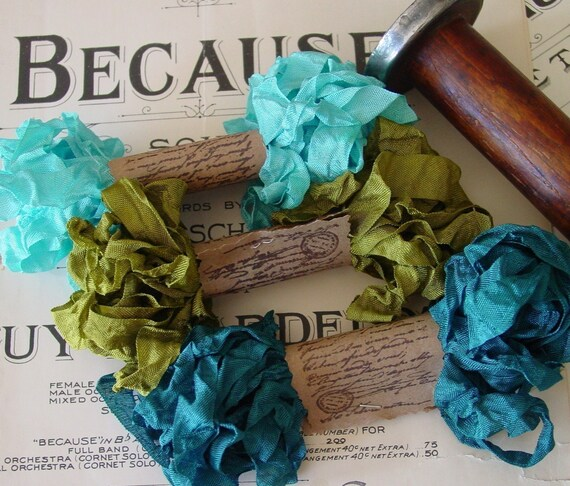 Shabby Wrinkled Dragonfly Dance ribbon bundle, 15 yards