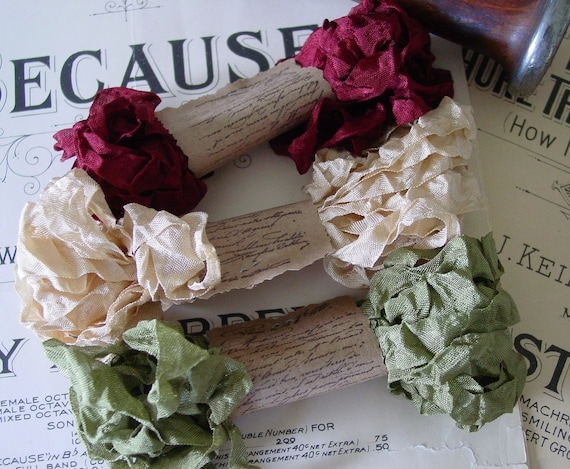 Shabby Wrinkled Old Fashioned Christmas ribbon bundle, 15 yards
