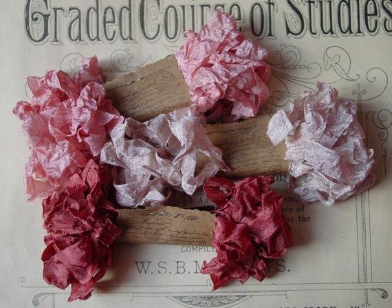Shabby Wrinkled Victorian Pinks ribbon, 15 yards