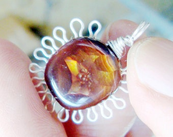 fire agate  sterling silver  wire wrapped